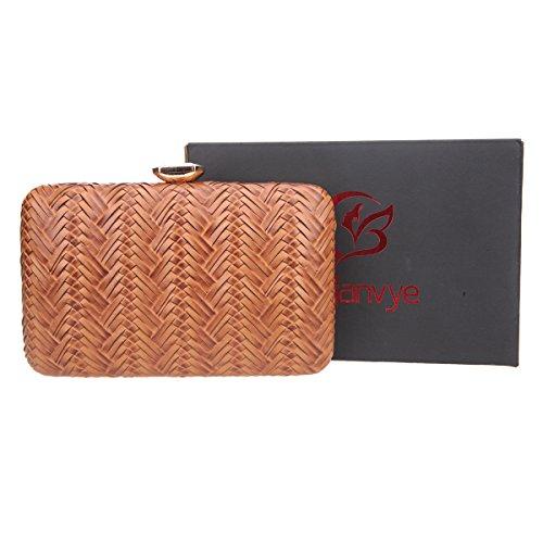 Bonjanvye Big Man Made Diamond PU Leather Weave Pattern Bags for Women Pumpkin Brown