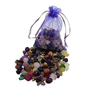 AMAHOFF 100 Edelsteine (trommelpoliert) – Natursteine 10-15mm – Optimal für Kalaha, Hus oder Bao – Organza-Säckchen & Spielanleitung
