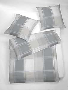 2 tlg. etérea Fein Biber Bettwäsche Loxhill Kariert Karo Silber Silber, 155x200 cm + 80x80 cm