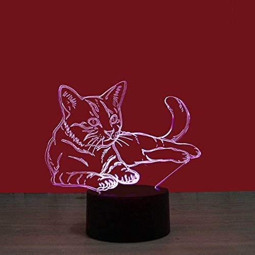 3D Nachtlicht, Voodoo Cat 7 Farben blinkend ändern Acrylbeleuchtung für Kinder Weihnachtsgeschenk Schlafzimmer Urlaub Dekoration