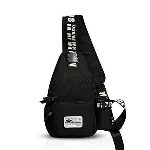 FANDARE Mode Sling Bag Rucksack Umhängetasche Brusttasche Messenger Bag Schultertasche Hiking Bag Daypack Crossbody Bag Chest Pack Sports Reisetasche Wasserdicht Polyester Schwarz -