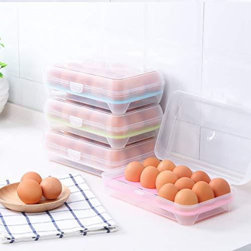 WEIWEITOE 15 Gitterzellen Eier Container Lagerung Küche Kühlschrank Frische Box Aufbewahrungskoffer Multifunktionale Crisper Lebensmittelbehälter blau -