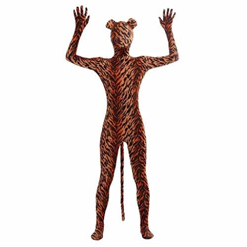 er Streifen Catsuit Karnevalskostüm Spandex Ganzkörper Bodysuit Cosplay Halloween Kostüm - L (Ganzkörper-spandex-halloween-kostüme)