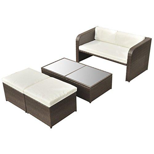 vidaXL 9-tlg. Gartenmöbel-Lounge-Set Sofa-Set Poly Rattan Braun - 3