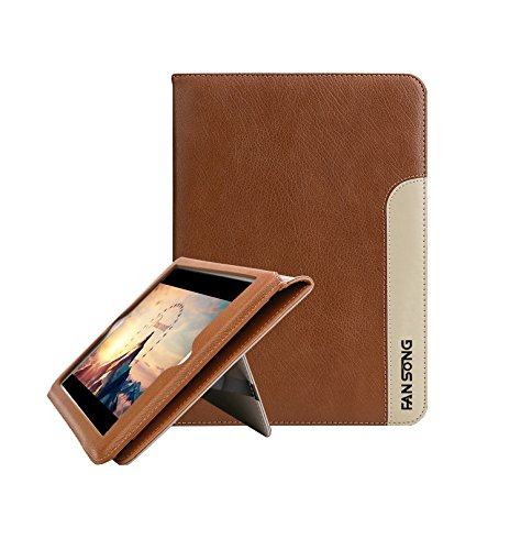 FAN SONG Nuovo iPad 9.7 Pollici 2017/2018 Custodia, Vera Pelle Smart Cover con Auto Wake & Sleep Funzione e Stand Protezione per Apple iPad PRO 9.7 in(A1893/A1954/A1822/A1823),Kaki
