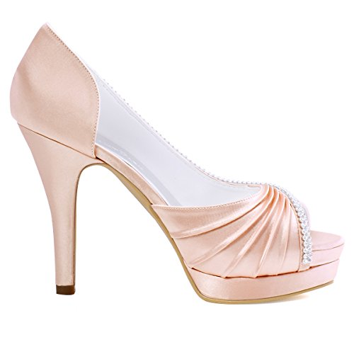 Elegantpark EP11064-IPF Bout Ouvert Pliez Satin Strass Aiguille Talon Pumps Femme Chaussures de Mariage Rose