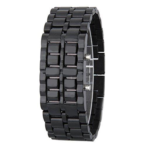 GSPStyle Unisex Blau LED Uhr Herrenuhr Damenuhr Kunststoff Armbanduhr Quarzuhr Farbe Schwarz