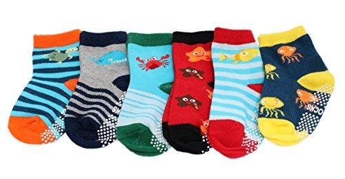 FunSocks - Colourful Baby World - bébé garçon Lot de 6 chaussettes à rayures multicolores en coton antidérapant (6-12 mois)