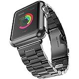 VIWIV Iwatch Strap Für Apple Watch 2018 4 Generationen Von DREI Perlen Mit Rosa Blauem Edelstahl-Armband,Black,42mm