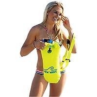New Wave Swim Buoy La boya para nadadores y triatletas de aguas abiertas. Ligera, alta visibilidad y gran flotabilidad para entrenamiento o competición (Amarillo PVC Media-15L / Yellow PVC Medium-15L)