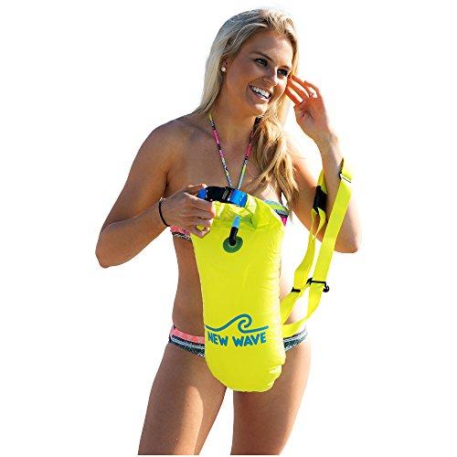 New Wave Schwimmboje für Openwater Schwimmer und Triathleten - Visible Float für Training und Wettkampf (Yellow PVC middelen 15l)