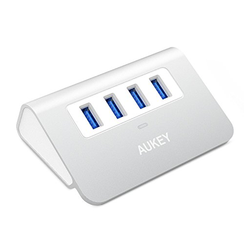 AUKEY Hub USB 3.0 4 Porte SuperSpeed 5Gbps in Alluminio con Cavo USB 3.0 50cm e LED Indicatore USB Hub per Apple MacBook, Macbook Air, Macbook Pro, iMac - Argento