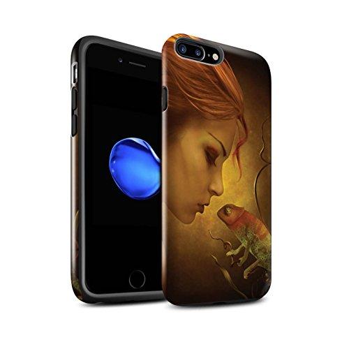 Officiel Elena Dudina Coque / Brillant Robuste Antichoc Etui pour Apple iPhone 7 Plus / Cameleon Design / Dragon Reptile Collection Cameleon
