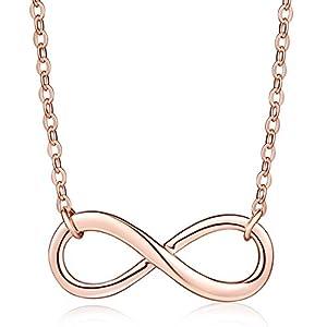Yumilok Roségold 925 Sterling Silber Unendlichkeit Zeichen Anhänger Halskette Verstellbare Kette mit Anhänger für Damen Mädchen