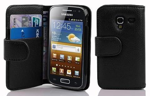 Cadorabo - Etui Housse pour Samsung Galaxy ACE 2 (I8160) - Coque Case Cover Bumper Portefeuille (avec fentes pour cartes) en NOIR DE JAIS