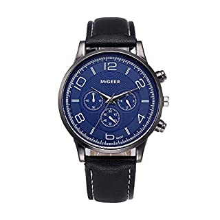 Deloito Herren Retro Design Lederband Geschäft Uhren Analoge Legierung Fall Runden Handgelenk Quartz Uhr (Schwarz)