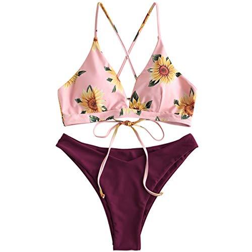 ZAFUL Damen Gepolsterter Bikini Set Bademode Badeanzug mit Blumenmuster Schnürung Zweiteilig Kastanienbraun Medium