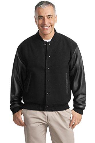 Port Authority–Wolle und Leder Letterman Jacke Gr. X-Large, schwarz / schwarz