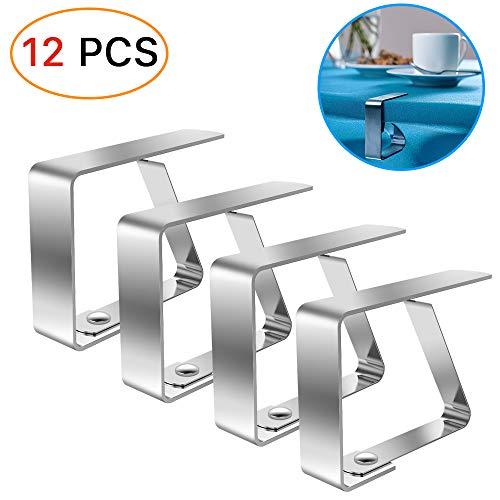 LOVEXIU Tischdeckenklammer,Tischtuchhalter12 Stück,Tischdeckenklammer Edelstahl,Tischabdeckungsklemmen Silber,Tischtuchklammern Einstellbar,Clip tischdecke,Tischdeckenklammer fur 4cmTischplatten