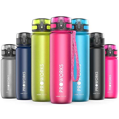 Proworks Trinkflasche, BPA Frei Tritan Wasserflasche Auslaufsicher, Fitness Flasche für Sport, Joggen, Radfahren, Wandern und mehr, Water Bottle 1 Liter (36oz) - Rosa