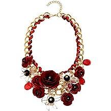Cexin Mujeres Cadena de Oro Crystal flores Colgante Charm Big Chunky babero declaración collar para ropa