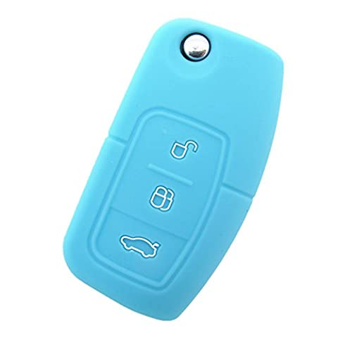 Happyit 2 Pcs Silicone Car Key Remote Cover Case fit for Ford Fiesta Focus 2 Ecosport Kuga Escape MK2 3 Buttons Flip Key (Light blue)