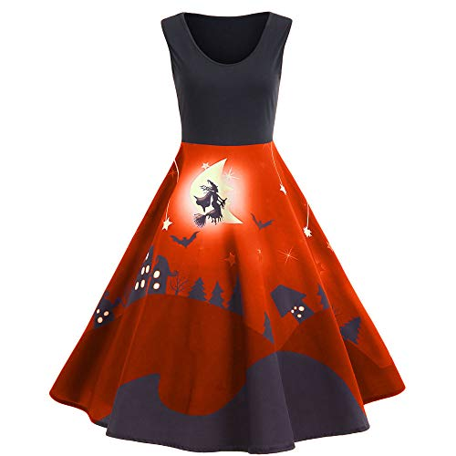VECDY Damen Kleid, Herbst Frauen Vintage Print Sleeveless Halloween langes Kleid Elegantes Karneval Kleid Exquisite Hexe Print Dress ()