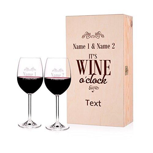 Leonardo 2 Weingläser zur Hochzeit/Geburtstag/Jubiläum - wine o\'clock - mit Namen und Wunschtext in Premiumbox