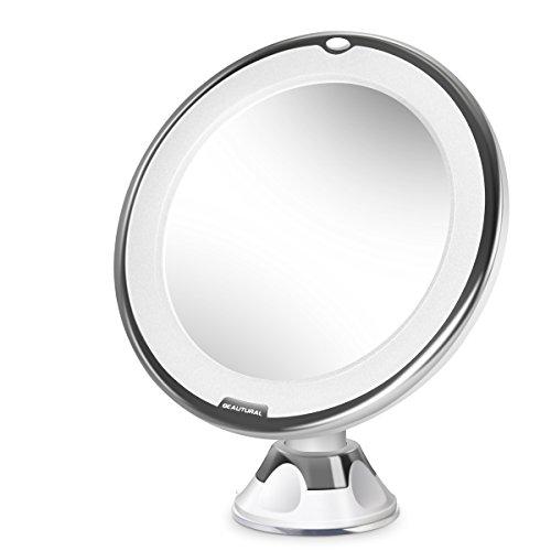 Kosmetikspiegel, LED Beleuchtet Kompaktspiegel Beautural Rasierspiegel 10-Fach Vergrößerung Schminkspiegel mit 360 ° schwenkbare Drehkugel und integriertem Saugnapf für Make up, Rasur, Reise und - Beleuchtete Make-up-spiegel Wand