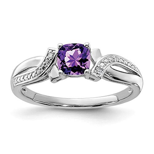 Sonia Jewels 925 Solid Sterling Silver Engagement Ring, Violet Simulated February Birthstone, Simulated Diamond Amethyst (.02 Carat). (2 mm)