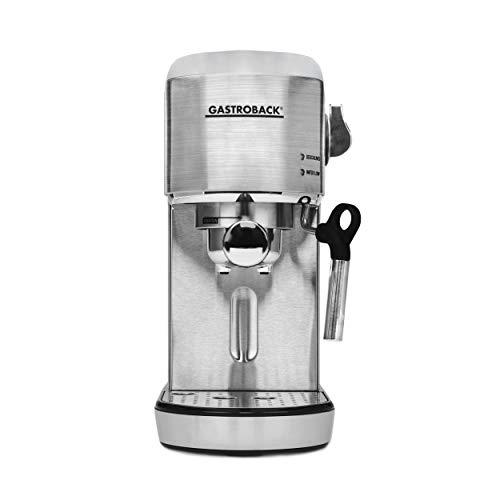 Gastroback 42716 Design Espresso Piccolo, Espressomaschine mit Milchaufschäumdüse, 19 bar Pumpendruck, schnelles Aufheizen (40 Sekunden), 1.4 liters, Edelstahl