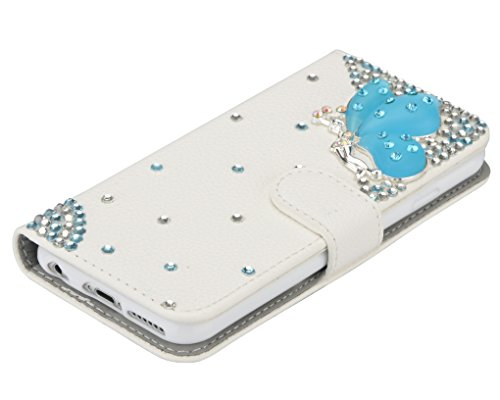 3D Coque iPhone 8 Plus Housse Étui 3 en 1 PU Cuir Case, Vandot Luxe Brillant Diamant Coque Bling Bling Cristal Strass Cover Motif Ange Elf Couverture Magnetic Flip avec Support Stand Wallet Case pour  Diamant 30