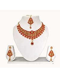 Vipin Store Golden & Red Color Stone And Kundan Gold Plated Jewelery Set - B078Y1M19R