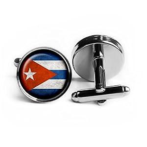 Cuba Cuban Flag Kuba Kubanische Flagge Rhodium Silber Manschettenknöpfe