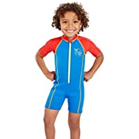 Speedo Seasquad Hot Tot Suit Bañador, Unisex Niños, Neon Blue/Risk Red, 4 Años