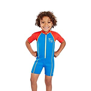 Speedo Boys Seasquad Hot Tot Suit, Neon Blue/Risk Red/Lime Punch, 9-12 m