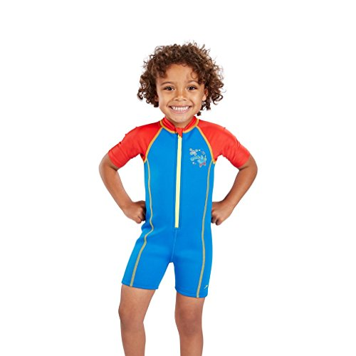 Speedo Kinder Seasquad Hot Tot Suit Swimwear, Neon Blue/Risk Red/Lime Punch, 6-9