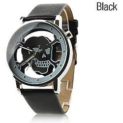 Fenkoo Unisex Quartz Analog Hollow Skull Style Dial PU Band Wrist Watch Black