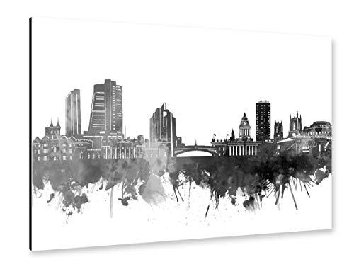 artboxONE Alu-Print 120x80 cm Leeds Skyline Black von Künstler Bekim Mehovic