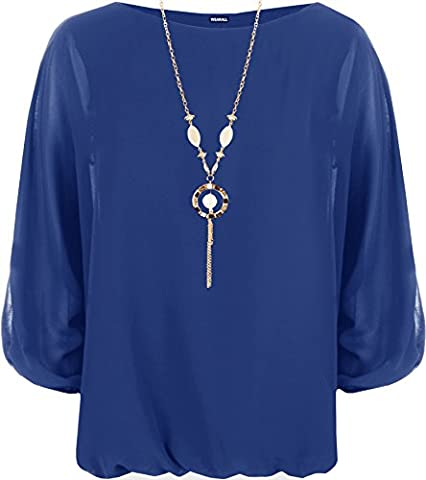 Plus Womens Chiffon Sheer Lined Batwing Long Sleeve Necklace Ladies Top 14 - Royal Blue - 14-16