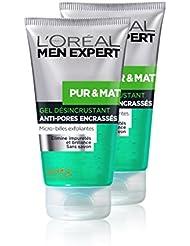 L'Oréal Men Expert Pur & Mat Gel Nettoyant Désincrustant Visage Peau Grasse - Lot de 2 x 150ml