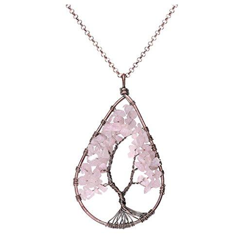 QGEM Rosenquarz Oval Anhänger Baum des Lebens Wire Wrapped Halskette natürliche Edelsteine Trommelsteine healing Schmuck Kette