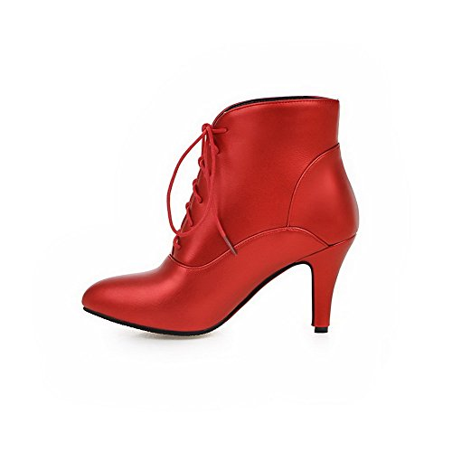 AgooLar Damen Spitz Zehe Niedrig-Spitze Hoher Absatz Rein Blend-Materialien Stiefel Rot