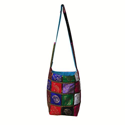 Royal Kraft Multicolor bloc impression à damiers motif semi soie Collège Jhola Sac