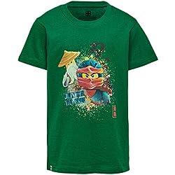 LEGO Wear Boy Ninjago Cm-50231-T-shirt Camiseta, Verde (Dark Green 877), 104 para Niños