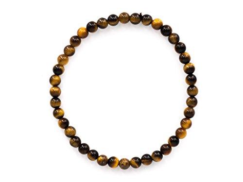 Taddart Minerals - Gelb Braunes Armband aus dem natürlichen Edelstein Tigerauge mit 4 mm Kugeln auf elastischem Nylonfaden aufgezogen - handgefertigt -