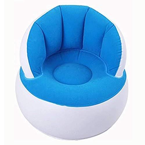 Crazywind Kinder Beflockung Stuhl Hocker mit Rückenlehne Aufblasbar Weich Sofa für Kinder - Blau mit Pumpe