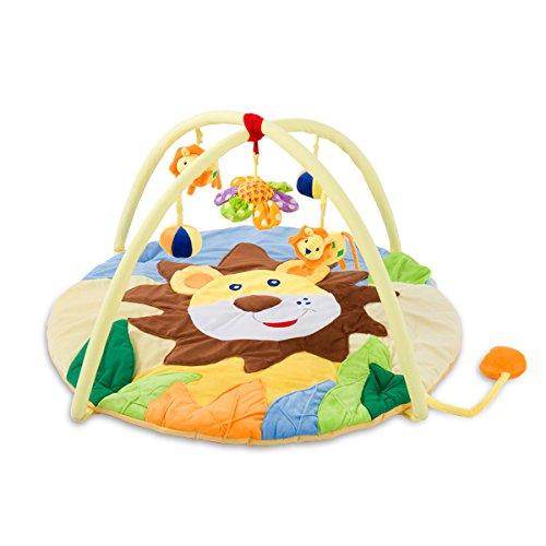 SONARIN Niedlicher Löwe Erlebnisdecke Baby Spielmatte & Activity Gym Bunt & Interaktiv, Ideal Geschenk(Gelb) - Rainforest Activity