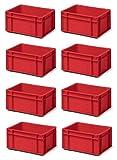 8 Stk. Transport-Stapelkasten TK314-0, rot, 300x200x145 mm (LxBxH),aus PP, Volumen: 5.5 Liter, Traglast: 25 kg, lebensmittelecht, made in Germany, Industriequalität
