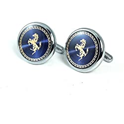 The Jewebox Navy Blue With Gold Horse Round Cufflink For Men